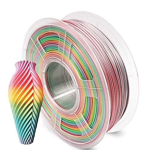 AnKun PLA Filamento 1,75 mm, Multicolore Arcobaleno PLA+ 3D Stampa Filamento per Stampante 3D e Penna 3D, Precisione Dimensionale +/- 0,02 mm, 1 Bobina
