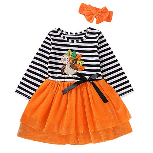 Haokaini Little Girls Kids Thanks Giving Day Dress Striped Mesh Tutu Skirt with Headband Set