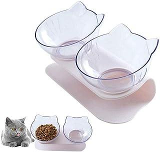 وعاء مزدوج من بيونتي شفاف ومزدوج الاغراض مضاد للرذاذ ومانع للانزلاق وبتصميم مائل لحماية رقبة ووجه القطط