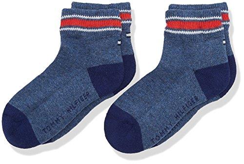 Tommy Hilfiger TH Kids Iconic Sports Quarter 2P Calzini, Blu (Jeans 356), 31 cm-34 cm (Pacco da 2) Bambino