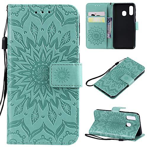 nancencen Hülle Kompatibel mit Samsung Galaxy A8S, Flip-Hülle Handytasche - Standfunktion Brieftasche & Kartenfächern - Sun Flower - Green