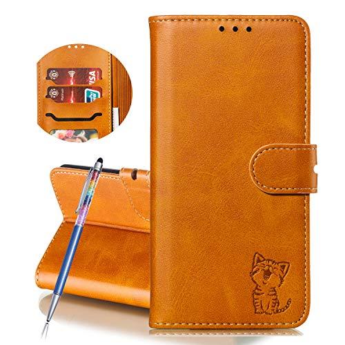 Finemoco Hülle für Huawei Y5 2019 Leder Handyhülle Flip Hülle Premium PU mit Brieftasche Schutzhülle Gelb Katze Folie Cover Silikon Bumper 360 Grad Handytasche Magnetisch Standfunktion Wallet Tasche
