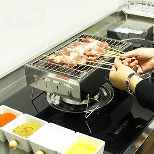 Fiunkes Mini Kleiner Tragbarer Holzkohle BBQ-Grill, Edelstahl-Faltbarer BBQ-Grills Für Den Außenbereich, Kochen, Camping, Wandern, Picknicks, Home Barbecue Grills, 12X8x5inch