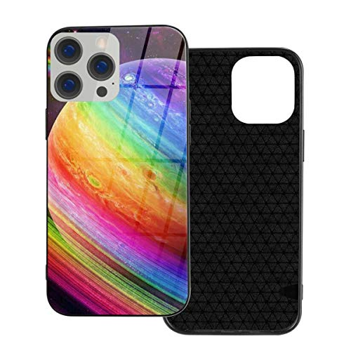 RTBB Iphone 12 Glass Case 3D Rainbow Space Planet Flexible Soft Tpu Protection Back Toughened Glass Protective Shockproof Cover Cases For Iphone 12/12 Pro/12 Mini/12 Pro Max