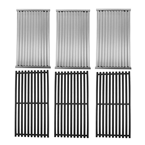 SafBbcue Cast Iron Cooking Grates and Infrared Emitter Replacement for Charbroil Infrared Grills 463241013 463243812 463246909 463262210 463270610 463273614 466241013 466247110 (Set of 3)