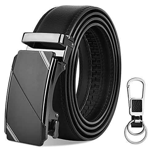 OOPOR Cinturón Hombre Cuero Automática Hebilla - Negro Colores Piel Cinturones Trinquete...