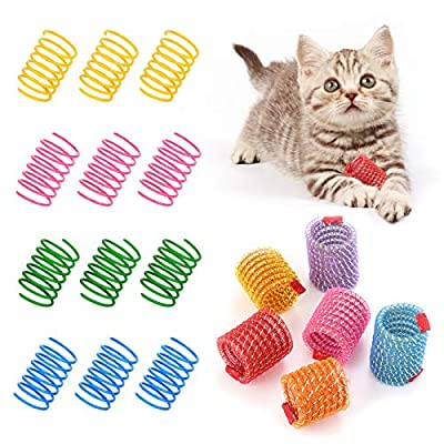 INPHER Cat Spring Toy, 18PCS Cat Spring Toys Kitten Teething Toys Colorful and Interactive Telescopic Funny Cat Jumping Toy Flexible & Coil Spiral Springs Kitten Chew Toys to Kill Time and Keep Fit