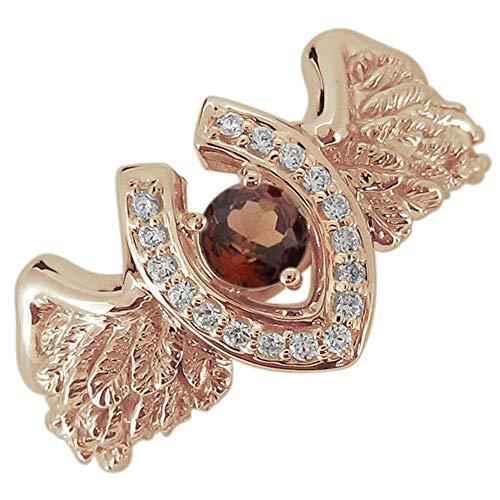 [プレジュール]メンズ リング 馬蹄 羽根 フェザー ガーネット 1月誕生石 ピンクゴールド K10 10金 指輪