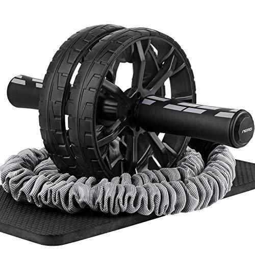 Aerb Bauchroller, 2 Räder Bauchtrainer Roller Übung mit gepolsterter Kniematte und Kordelzug, Laufruhig Roller AB Wheel für Home Gym Fitness