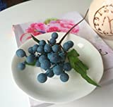 Rose Manor Berries Artificial Flower Bouquet Sweet Home Deco 9.8 in Fake Berry Spray Aritificial Fruits Craft Arrangement Accessories (Blueberry)