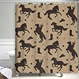 Wild West Rodeo Southwestern Texas Star Shower Curtain, Western Cowboy with Animals Horses Horseshoe Boot Hat Silhouette in Rustic Shower Curtains, Polyester Fabric Bathroom Curtain Set , (69X70in)