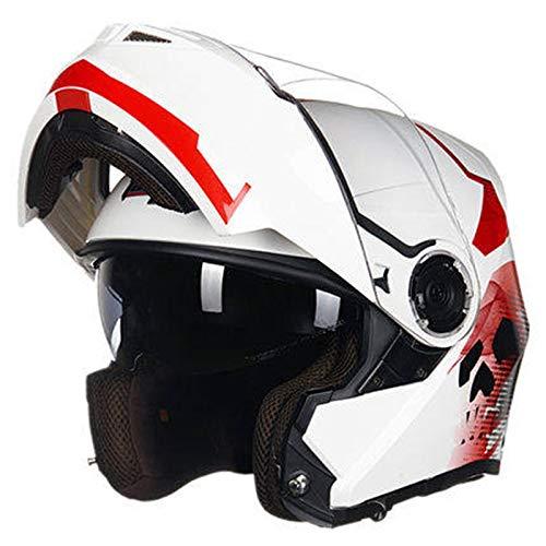 LCSD Helmets - Casco de motocicleta para hombre con doble lente y cubierta completa, casco de motocicleta eléctrico, color blanco y negro