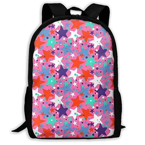ADGBag Patriots Pink Colorful Stars Fashion Outdoor Shoulders Bag Durable Travel Camping for Kids Backpacks Shoulder Bag Book Scholl Travel Backpack Sac à Dos pour Enfants