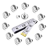 12 Sets 17mm Button pins,Easy Installation of Jeans Buckle Reusable and Adjustable,Removable Metal Button to Extend or Reduce Pants Waist Size,and Tape Measure Double Scale 60 Inch(150CM)