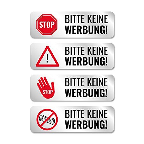 Bitte Keine Werbung Aufkleber für Briefkasten, Edelstahl-Optik, witterungsfest - 8 Stück - 4 Motive - Silber