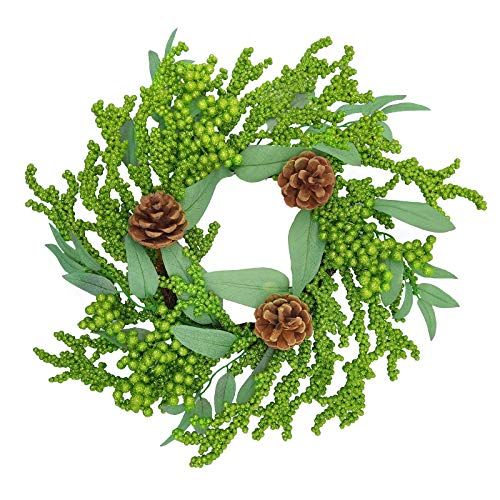 """Aimanni 16"""" Christmas Wreath, Pinecones & Green Berry Artificial Wreath, Handmade Floral Front Door Wreath for Holiday Festival Home Farmhouse Wall Decor"""