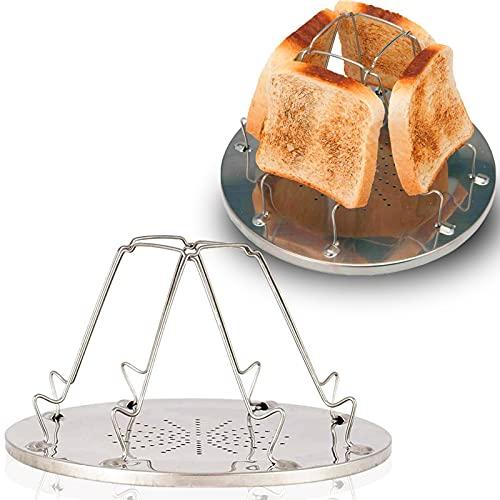 behone 2 piezas tostadora plegable camping, 4 rebanada plegable tostadora, Tostadora portátil Plataforma para camping, pan, tostadora, plegable, para acampar al aire libre, estufa de gas