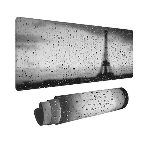 PATINISA Duża podkładka pod mysz do gier krople deszczu na szkle Wieża Eiffla za oknem monochromatyczna sztuka fotografia antypoślizgowe gumowe podkładki pod mysz podkładka pod mysz do gier komputera biura biurka, 80 x 30 x 0,3 cm