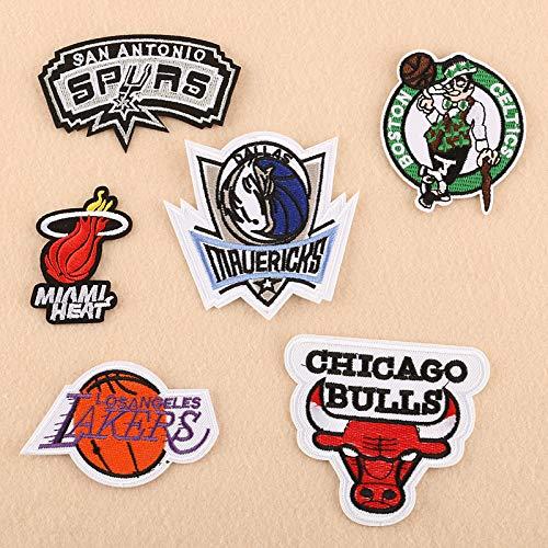 iron on patch,parches para ropa,Aplique de bordado, utilizado para decorar ropa para reparar agujeros en la ropa, personajes de baloncesto Bulls 6 piezas