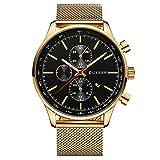 CURREN Watches Mens Luxury Stainless Steel Quartz Watch Men Casual Waterproof Clock Date Sport Wristwatch (Gold Black)
