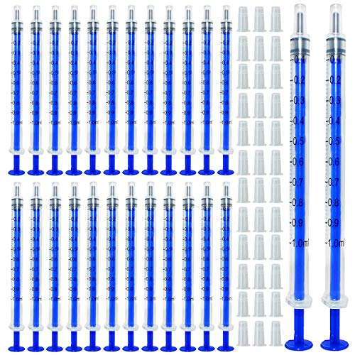 Gebildet 100pcs 1ml Sterile Spritzen, Öl-Dosierungsspritze (ohne Nadeln) mit Kappen, für Kleine Haustierfütterung Industrielle Präzisionsanwendung