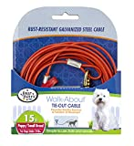 Four Paws Puppy Dog Tie Out Cable Red 15 Feet