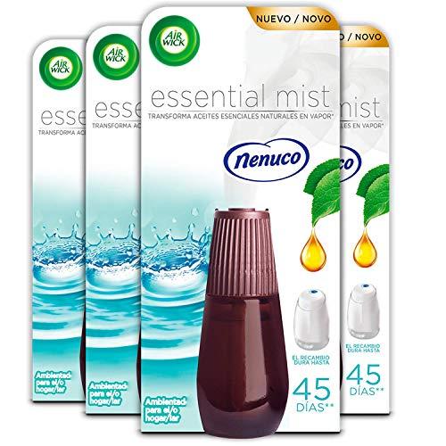 Air Wick Essential Mist - Recambio de ambientador difusor, esencia para casa con aroma a Nenuco - 4 unidades
