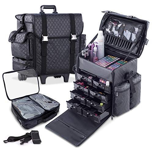 KIOTA - Professional Beauty Makeup Artist Case on Wheels, Soft Cosmetic Case with Trolley and Storage Drawers, Side Compartments and Brush Holders, ULTIMATE Series - Black Diamond