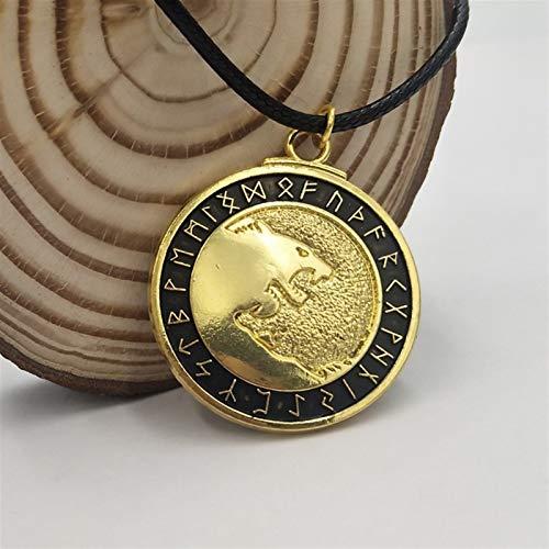 CNZXCO Brazalete Vikingo, 2pcs Pulsera Vikinga Hombre, Amuletos De La Suerte Y Proteccion, Collar Colgante De La Cabeza De Lobo, Collar De Vikingos Vintage, Joyería De Aleación (Color : Gold)