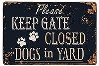 ブリキ メタル プレート サイン 2枚 ショーピングゲートを閉じたままにしてください庭に金属製のブリキの看板犬をぶら下げアートワークプラークWallArt芝生の庭の装飾的なレトロなヴィンテージ看板庭の看板8インチX12インチ