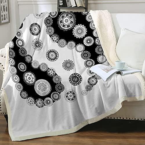 Boho s and Throw Paisley Vintage Sherpa Fleece flauschig weich Überwurf Mandala Floral Sherpa Fleece Bett (Schwarz und Weiß, Queen (127 x 152,4 cm)