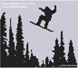 Snow Boarder Over Trees Cross Stitch Pattern (English Edition)