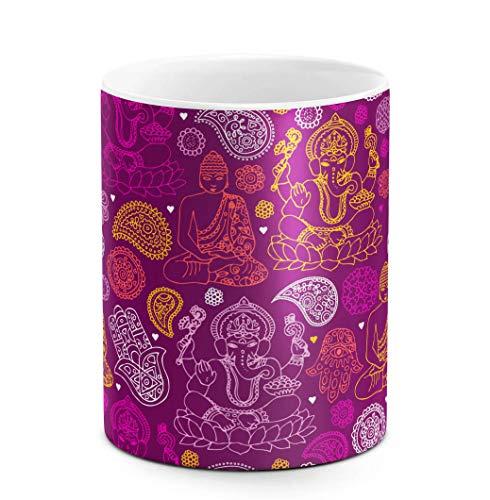 Kaffee-und Tee Tasse aus Keramik, 325 ml Buddha, Hamsa, Ganesh, Mandala Hindu Pattern, weiß, bestes Geschenk zum Geburtstag, einzigartige Geschenkidee, lustiges Weihnachtsgeschenk