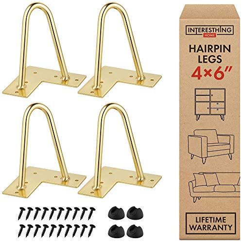 Interesthing Home Hairpin Legs for Coffee and End Tables, Chairs and Rubber Floor Protectors, 6 Inches, Gold