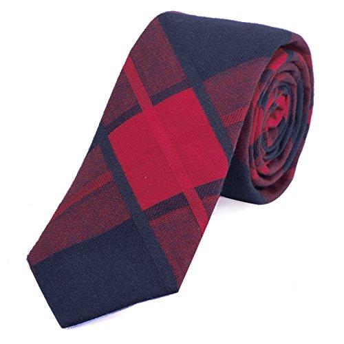 DonDon Corbata de cuadros de algodón para hombres de 6 cm - rojo azul oscuro