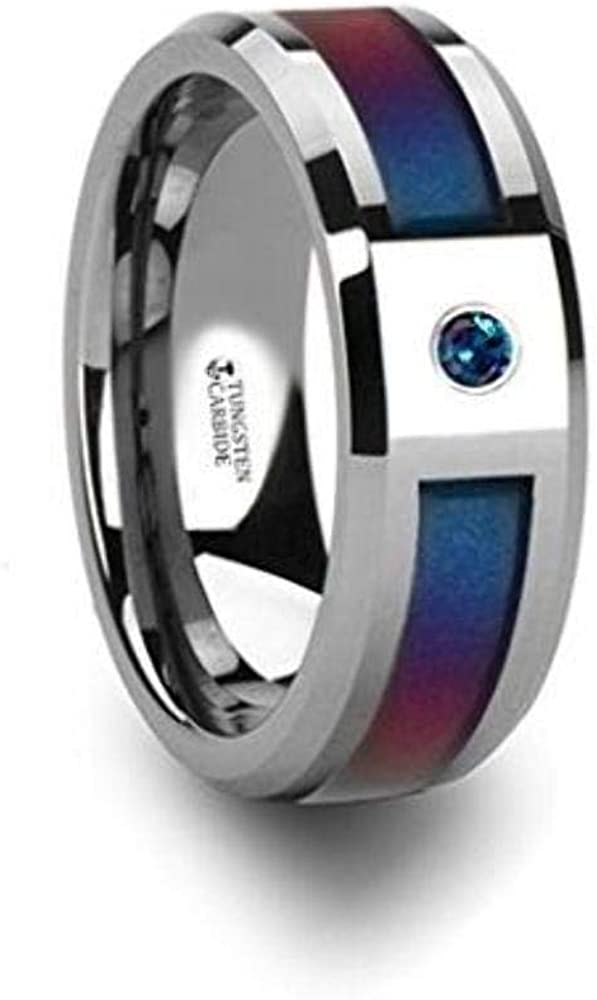 CERULEAN Tungsten Carbide Wedding Band Ring with Center Purple Blue Inlay Beveled Edges 8mm Wide and Alexandrite Stone Custom Personalized Inside Engraved