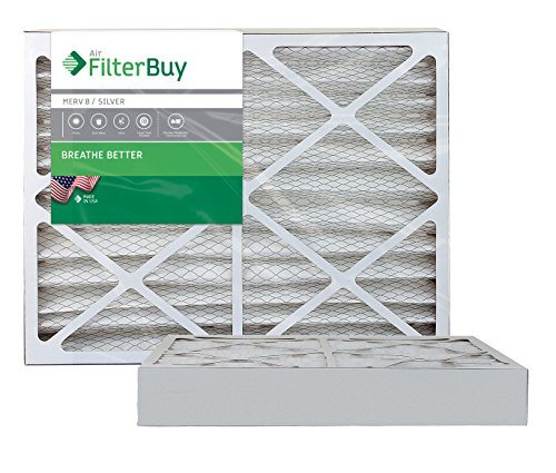 """FilterBuy 20x25x4 MERV 8 Pleated AC Furnace Air Filter, (Pack of 2 Filters), Actual size 19 3/8"""" x 24 3/8"""" x 3 5/8"""", 20x25x4 – Silver"""
