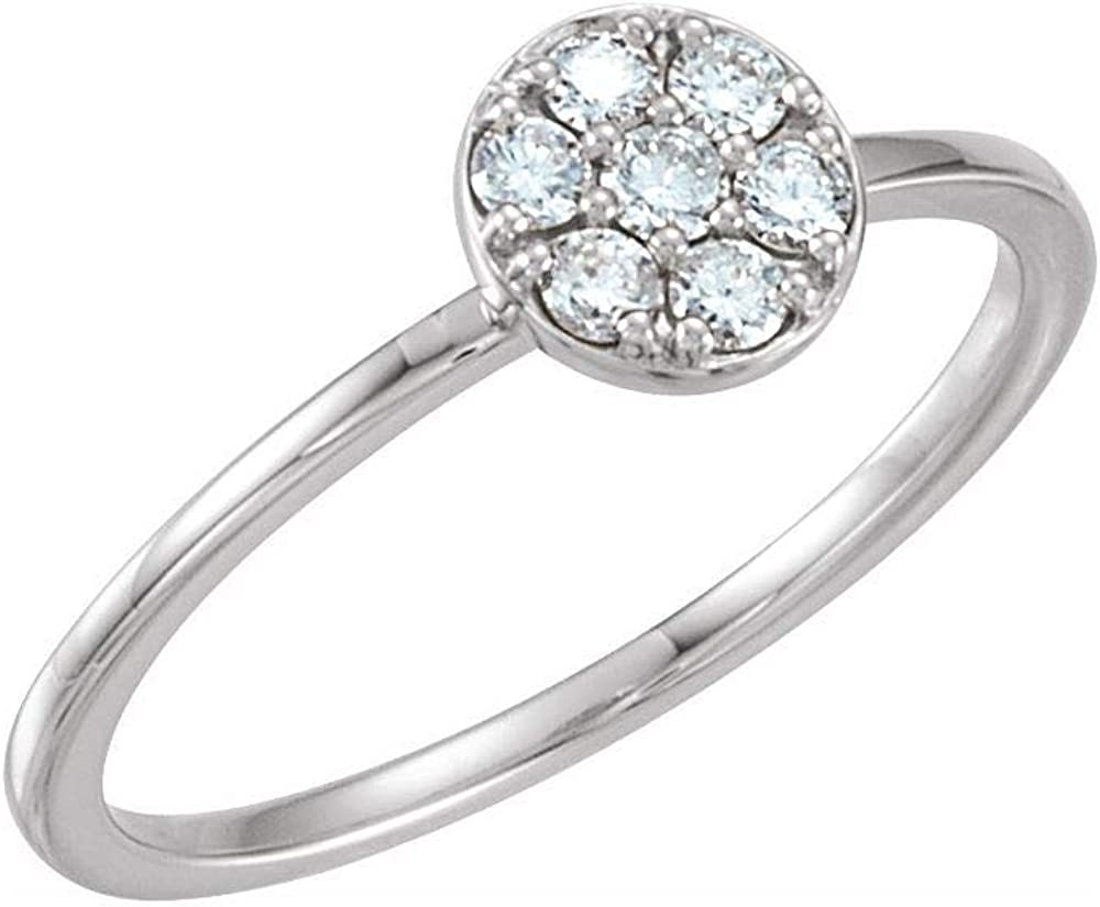 Solid 14k White Gold 1/5 Cttw Diamond Stackable Wedding Anniversary Cluster Ring Band (.20 Cttw) (Width = 6.8mm)