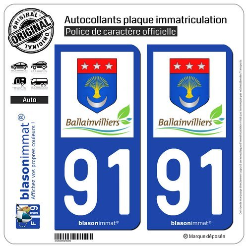 Blasonimmat - 2 pegatinas para placa de matrícula de coche 91 Ballainvilliers - Commune