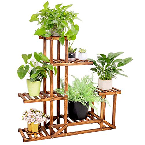 Unho Plant Stand Wooden Shelf Tiered Flower Rack Holder Planter Pots Shelves Display Multiple Plants Succulents Indoor Outdoor For Garden Patio Balcony Lawn 37 4x9 8x37 8in Buy Online In Israel Unho Products