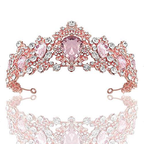 Tiara Crown For Women Tiaras Wedding Crown Bridal Hair Accessories Luxury Baroque Crystal Pink Queen Crown Women Adult Gift Party Rosegoldpink