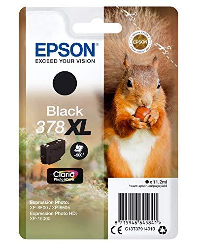 Epson Tintenpatrone 378XL Claria Photo HD Ink 11,2 ml, Schwarz, 500 Seiten, für Drucker (Schwarz, Epson, Expression Photo XP-8500, XP-8505 Expression Photo HD XP-15000, 11,2 ml, 500 Seiten)