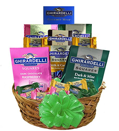 Grand Ghirardelli Chocolate Gift Basket - includes select Gourmet Dark Chocolate, Raspberry, Milk Chocolate, Caramel, Mint, Creamy Devotion Bar Holiday 2017