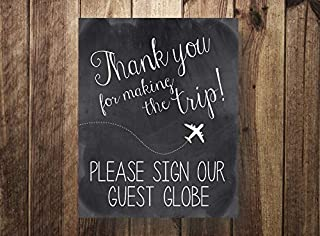 ShoppeCo Please Our Guest Globe Thanks for Making The Trip Destination Wedding Wedding Travel Guest Book Guestbook Wood Pallet Design Wall Art Sign Plaque Wooden Signs