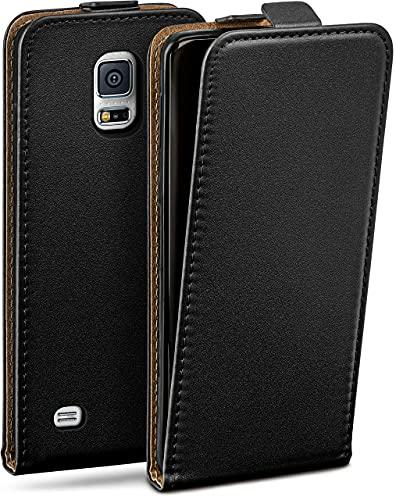 OneFlow Tasche für Samsung Galaxy S5 Mini Hülle Cover mit Magnet | Flip Hülle Etui Handyhülle zum Aufklappen | Handytasche Handy Schutz Bumper Schutzhülle mit Schale in Schwarz