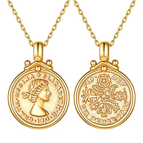 Silvora Collar Plata Mujer con Oro baño Moneda 6 Penique Reina Elizabeth Colgante Collar de Plata de Ley 925, Gratis Caja de Regalo