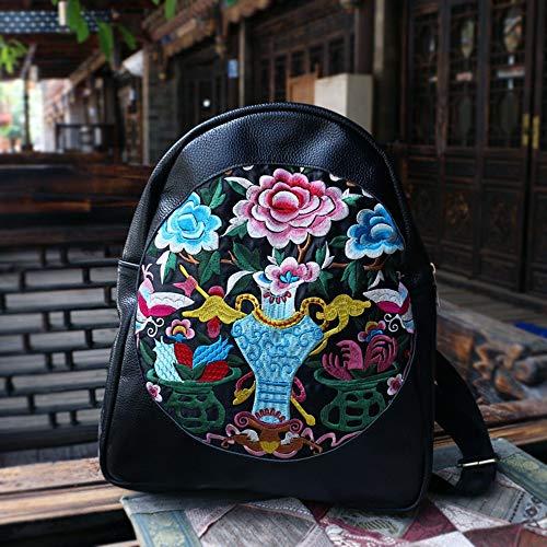 RJW Ms Stickerei Leder Rucksack Tasche Rind Stickerei 30 * 8 * 40cm Elegant