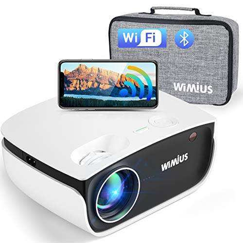 WiFi Projector, WiMiUS S25 Bluetooth Projector w/ 5500 Brightness High Contrast & Zoom 50%, Portable Mini Home & Outdoor Video Projector Support 1080P for Laptop, iPhone, Android, Fire TV Stick