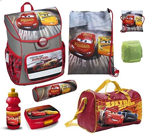 Familando Schulranzen-Set Disney Cars 9tlg. nur 820 Gramm Scooli Cosmos Sporttasche Dose Trink-Flasche CAAD8371 Jungen-Schulranzen ab der 1. Klasse