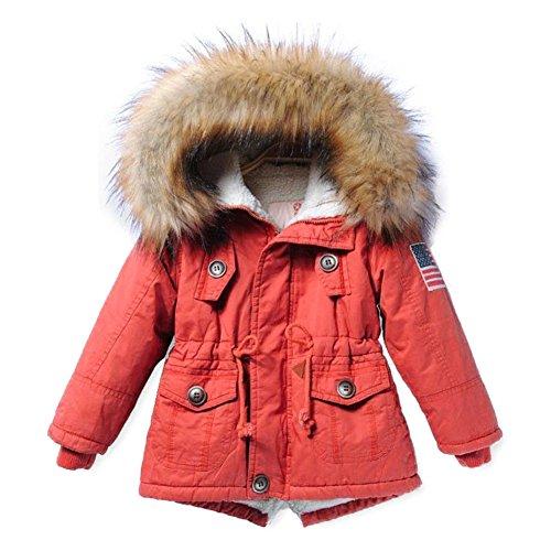 Juleya Mädchen/Jungen Kapuzenmantel Jacke Herbst Winter Dicke Warm Reißverschluss Kinderparka Outwear Kleidung